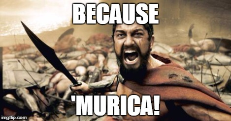 Sparta Leonidas Meme | BECAUSE 'MURICA! | image tagged in memes,sparta leonidas | made w/ Imgflip meme maker