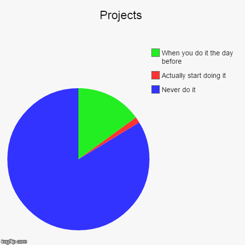 Projects | Never do it, Actually start doing it, When you do it the day before | image tagged in funny,pie charts | made w/ Imgflip chart maker
