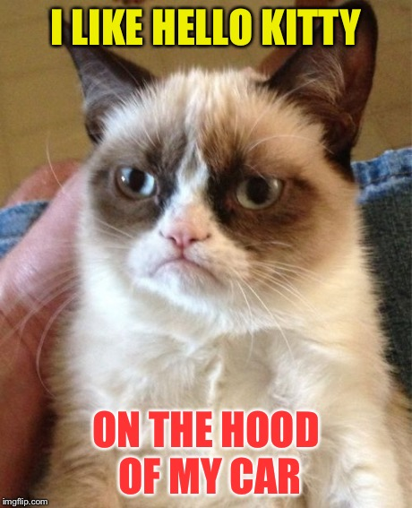 Grumpy Cat Meme | I LIKE HELLO KITTY ON THE HOOD OF MY CAR | image tagged in memes,grumpy cat | made w/ Imgflip meme maker