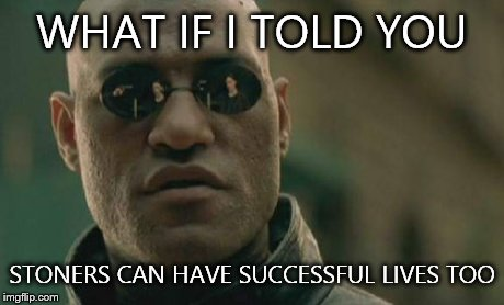 Matrix Morpheus Meme | WHAT IF I TOLD YOU STONERS CAN HAVE SUCCESSFUL LIVES TOO | image tagged in memes,matrix morpheus | made w/ Imgflip meme maker