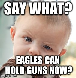 Skeptical Baby Meme | SAY WHAT? EAGLES CAN HOLD GUNS NOW? | image tagged in memes,skeptical baby | made w/ Imgflip meme maker