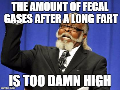 Too Damn High Meme | THE AMOUNT OF FECAL GASES AFTER A LONG FART IS TOO DAMN HIGH | image tagged in memes,too damn high | made w/ Imgflip meme maker