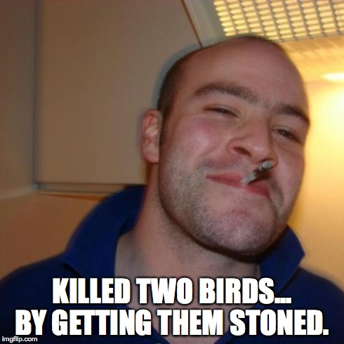 Kill two birds... | KILLED TWO BIRDS... BY GETTING THEM STONED. | image tagged in memes,good guy greg,stoned | made w/ Imgflip meme maker