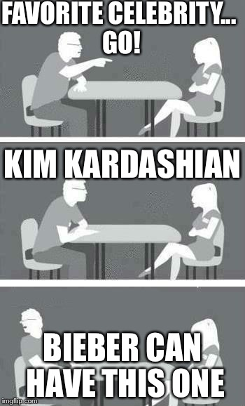 Speed Dating | FAVORITE CELEBRITY... GO! BIEBER CAN HAVE THIS ONE KIM KARDASHIAN | image tagged in speed dating | made w/ Imgflip meme maker