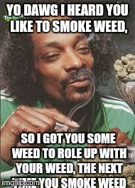 YO DAWG I HEARD YOU LIKE TO SMOKE WEED, SO I GOT YOU SOME WEED TO ROLE UP WITH YOUR WEED, THE NEXT TIME YOU SMOKE WEED | made w/ Imgflip meme maker