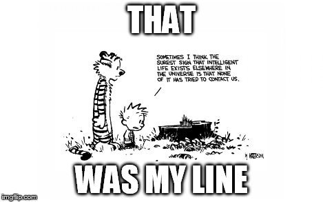 THAT WAS MY LINE | image tagged in calvin and hobbes | made w/ Imgflip meme maker