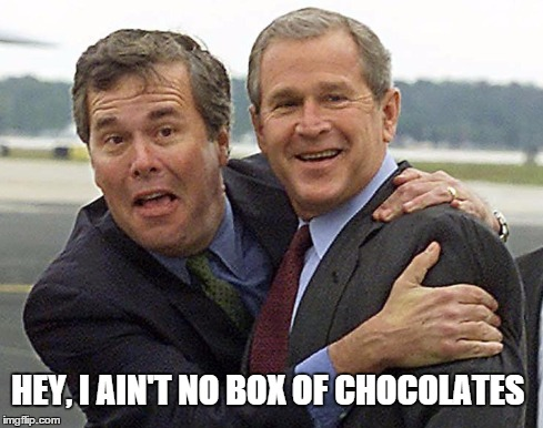 Dipsy jeb | HEY, I AIN'T NO BOX OF CHOCOLATES | image tagged in jeb,w,bush,george bush | made w/ Imgflip meme maker