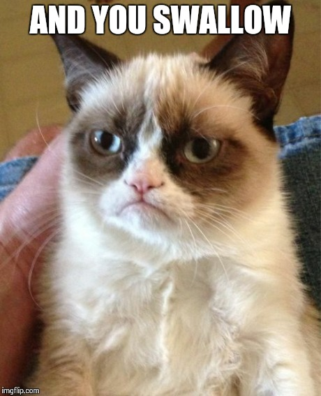 Grumpy Cat Meme | AND YOU SWALLOW | image tagged in memes,grumpy cat | made w/ Imgflip meme maker