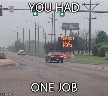 Ha got em | YOU HAD ONE JOB | image tagged in fail,deez nutz | made w/ Imgflip meme maker
