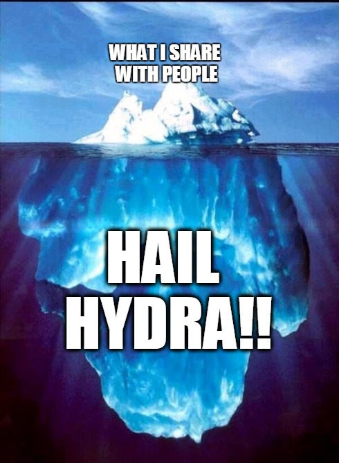 If they only knew... | WHAT I SHARE WITH PEOPLE HAIL HYDRA!! | image tagged in iceberg,hail hydra,sharing | made w/ Imgflip meme maker