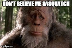 Don't Believe Me Sasquatch | DON'T BELIEVE ME SASQUATCH | image tagged in funny memes,mark ronson,uptown funk,sasquatch,music,bigfoot | made w/ Imgflip meme maker