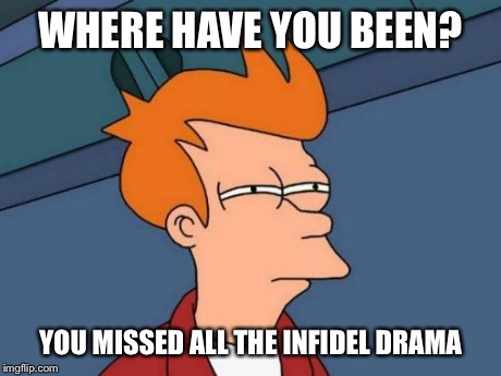 Futurama Fry Meme | WHERE HAVE YOU BEEN? YOU MISSED ALL THE INFIDEL DRAMA | image tagged in memes,futurama fry | made w/ Imgflip meme maker
