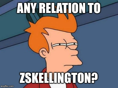 Futurama Fry Meme | ANY RELATION TO ZSKELLINGTON? | image tagged in memes,futurama fry | made w/ Imgflip meme maker