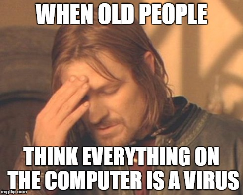 Frustrated Boromir Meme | WHEN OLD PEOPLE THINK EVERYTHING ON THE COMPUTER IS A VIRUS | image tagged in memes,frustrated boromir | made w/ Imgflip meme maker
