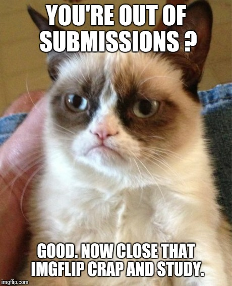 Grumpy Cat Meme | YOU'RE OUT OF SUBMISSIONS ? GOOD. NOW CLOSE THAT IMGFLIP CRAP AND STUDY. | image tagged in memes,grumpy cat | made w/ Imgflip meme maker