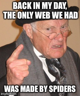 Dark times... | BACK IN MY DAY, THE ONLY WEB WE HAD WAS MADE BY SPIDERS | image tagged in memes,back in my day,internet | made w/ Imgflip meme maker