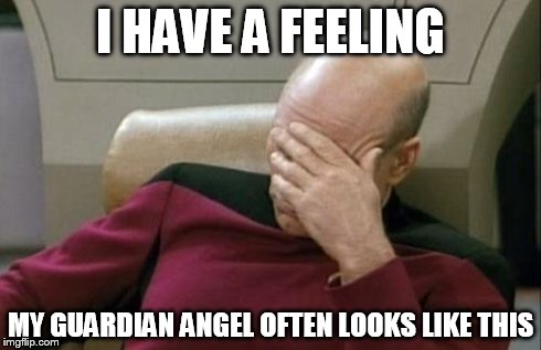 Captain Picard Facepalm Meme | I HAVE A FEELING MY GUARDIAN ANGEL OFTEN LOOKS LIKE THIS | image tagged in memes,captain picard facepalm | made w/ Imgflip meme maker
