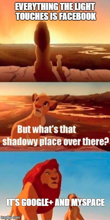 Simba Shadowy Place | EVERYTHING THE LIGHT TOUCHES IS FACEBOOK IT'S GOOGLE+ AND MYSPACE | image tagged in memes,simba shadowy place | made w/ Imgflip meme maker