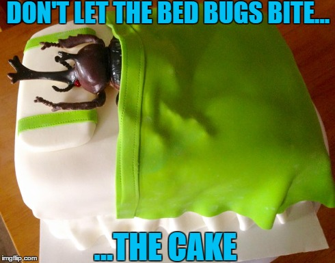 cake | DON'T LET THE BED BUGS BITE... ...THE CAKE | image tagged in bed,bugs,cake,birthday | made w/ Imgflip meme maker