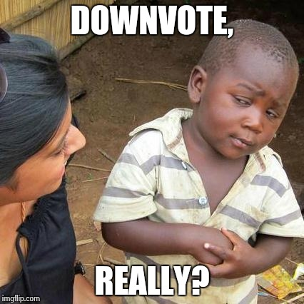 Third World Skeptical Kid Meme | DOWNVOTE, REALLY? | image tagged in memes,third world skeptical kid | made w/ Imgflip meme maker