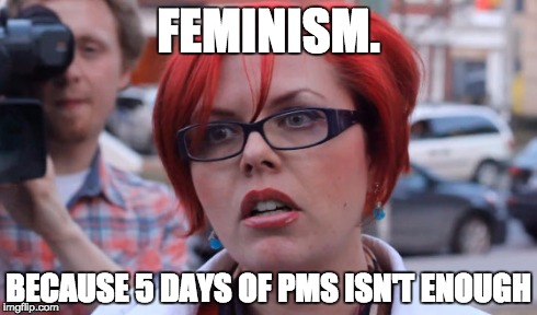 FEMINISM. BECAUSE 5 DAYS OF PMS ISN'T ENOUGH | image tagged in feminism,feminist,pms | made w/ Imgflip meme maker
