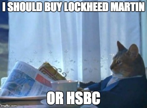 I Should Buy A Boat Cat Meme | I SHOULD BUY LOCKHEED MARTIN OR HSBC | image tagged in memes,i should buy a boat cat | made w/ Imgflip meme maker
