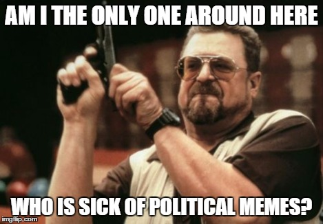 Am I The Only One Around Here Meme | AM I THE ONLY ONE AROUND HERE WHO IS SICK OF POLITICAL MEMES? | image tagged in memes,am i the only one around here | made w/ Imgflip meme maker