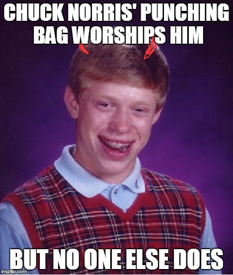 Bad Luck Brian Meme | CHUCK NORRIS' PUNCHING BAG WORSHIPS HIM BUT NO ONE ELSE DOES | image tagged in memes,bad luck brian | made w/ Imgflip meme maker