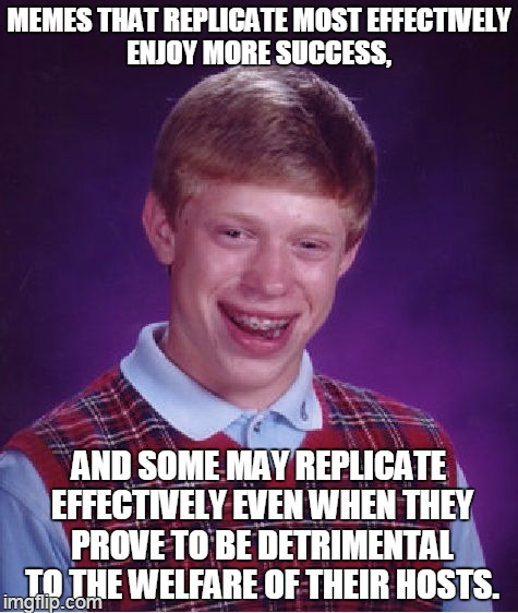 wikipedia: meme | MEMES THAT REPLICATE MOST EFFECTIVELY ENJOY MORE SUCCESS, AND SOME MAY REPLICATE EFFECTIVELY EVEN WHEN THEY PROVE TO BE DETRIMENTAL TO THE W | image tagged in memes,bad luck brian | made w/ Imgflip meme maker