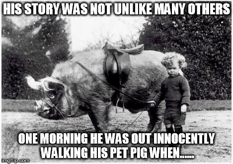 HIS STORY WAS NOT UNLIKE MANY OTHERS ONE MORNING HE WAS OUT INNOCENTLY WALKING HIS PET PIG WHEN...... | made w/ Imgflip meme maker