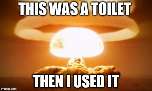 Nuclear Explosion | THIS WAS A TOILET THEN I USED IT | image tagged in nuclear explosion | made w/ Imgflip meme maker