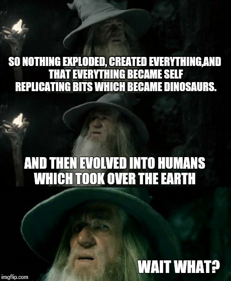 Confused Gandalf Meme | SO NOTHING EXPLODED, CREATED EVERYTHING,AND THAT EVERYTHING BECAME SELF REPLICATING BITS WHICH BECAME DINOSAURS. AND THEN EVOLVED INTO HUMAN | image tagged in memes,confused gandalf | made w/ Imgflip meme maker