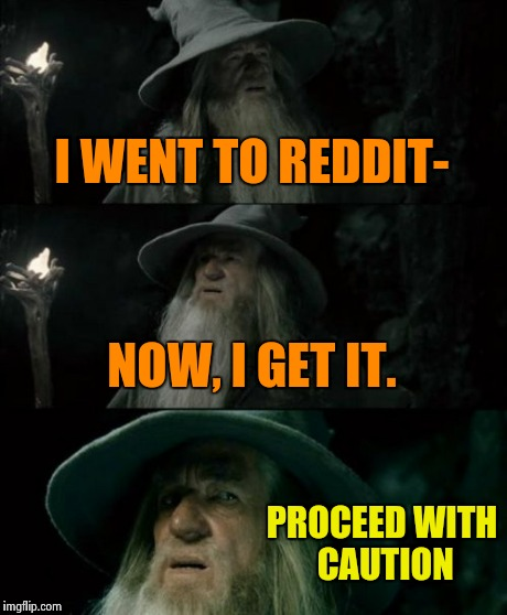 Confused Gandalf Meme | I WENT TO REDDIT- NOW, I GET IT. PROCEED WITH CAUTION | image tagged in memes,confused gandalf | made w/ Imgflip meme maker