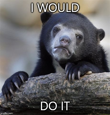 I WOULD DO IT | image tagged in memes,confession bear | made w/ Imgflip meme maker