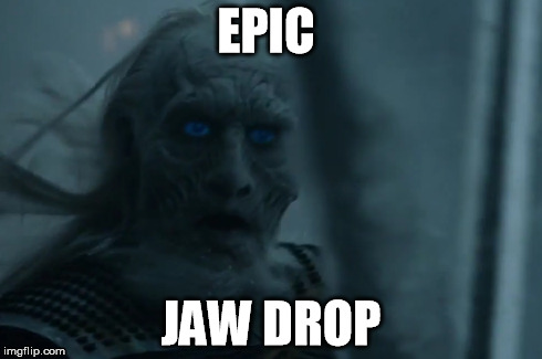 Epic jaw drop | EPIC JAW DROP | image tagged in game of thrones,the walker,wtf,i'm dead | made w/ Imgflip meme maker