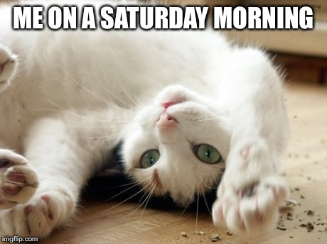 A white kitten laid on their back with their paws raised with text saying Me on a Saturday morning