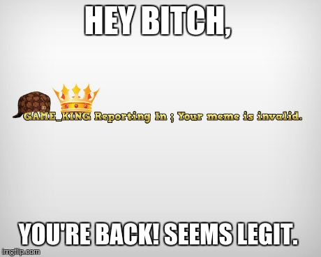HEY B**CH, YOU'RE BACK! SEEMS LEGIT. | made w/ Imgflip meme maker