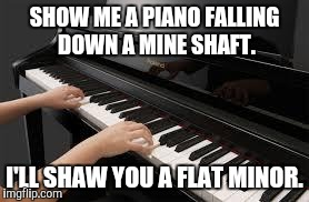 A flat minor | SHOW ME A PIANO FALLING DOWN A MINE SHAFT. I'LL SHAW YOU A FLAT MINOR. | image tagged in piano,jokes,funny memes,comedy,funny | made w/ Imgflip meme maker