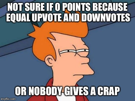 Futurama Fry Meme | NOT SURE IF 0 POINTS BECAUSE EQUAL UPVOTE AND DOWNVOTES OR NOBODY GIVES A CRAP | image tagged in memes,futurama fry | made w/ Imgflip meme maker