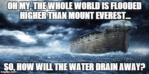 noahs ark | OH MY, THE WHOLE WORLD IS FLOODED HIGHER THAN MOUNT EVEREST... SO, HOW WILL THE WATER DRAIN AWAY? | image tagged in noahs ark | made w/ Imgflip meme maker