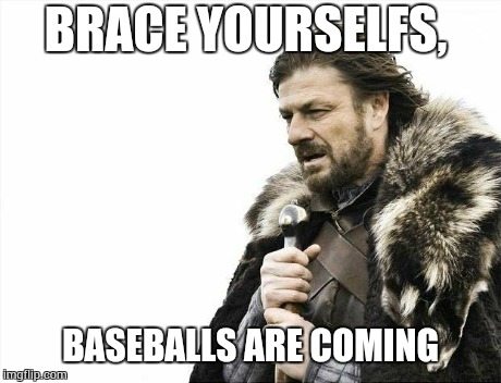 Brace Yourselves X is Coming Meme | BRACE YOURSELFS, BASEBALLS ARE COMING | image tagged in memes,brace yourselves x is coming | made w/ Imgflip meme maker