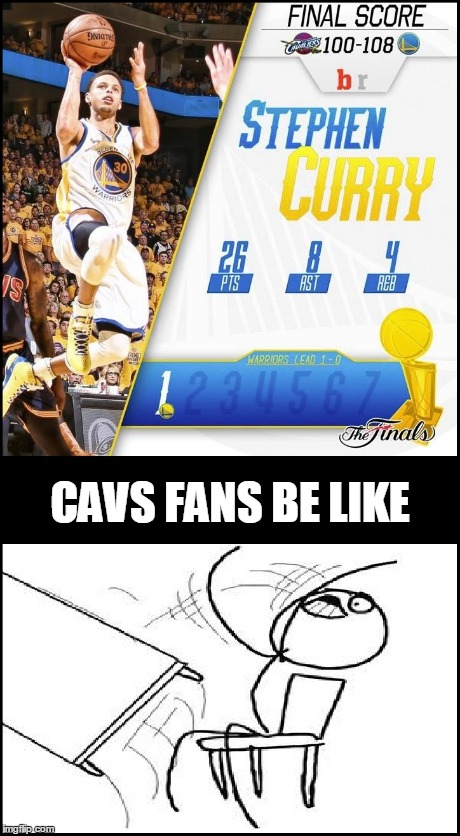 Warriors are just... too good. | CAVS FANS BE LIKE | image tagged in golden state warriors,stephen curry,cleveland cavaliers | made w/ Imgflip meme maker