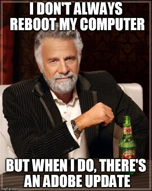 The Most Interesting Man In The World Meme | I DON'T ALWAYS REBOOT MY COMPUTER BUT WHEN I DO, THERE'S AN ADOBE UPDATE | image tagged in memes,the most interesting man in the world,AdviceAnimals | made w/ Imgflip meme maker