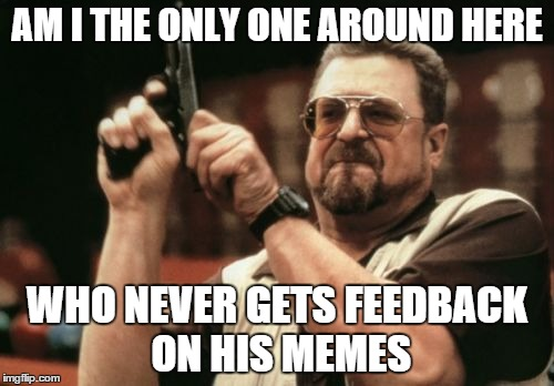Am I The Only One Around Here Meme | AM I THE ONLY ONE AROUND HERE WHO NEVER GETS FEEDBACK ON HIS MEMES | image tagged in memes,am i the only one around here | made w/ Imgflip meme maker