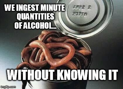 Can of Worms | WE INGEST MINUTE QUANTITIES OF ALCOHOL... WITHOUT KNOWING IT | image tagged in can of worms | made w/ Imgflip meme maker