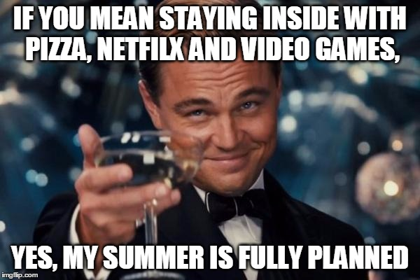 Leonardo Dicaprio Cheers Meme | IF YOU MEAN STAYING INSIDE WITH PIZZA, NETFILX AND VIDEO GAMES, YES, MY SUMMER IS FULLY PLANNED | image tagged in memes,leonardo dicaprio cheers | made w/ Imgflip meme maker