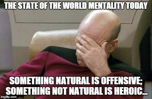 Captain Picard Facepalm Meme | THE STATE OF THE WORLD MENTALITY TODAY SOMETHING NATURAL IS OFFENSIVE; SOMETHING NOT NATURAL IS HEROIC... | image tagged in memes,captain picard facepalm | made w/ Imgflip meme maker