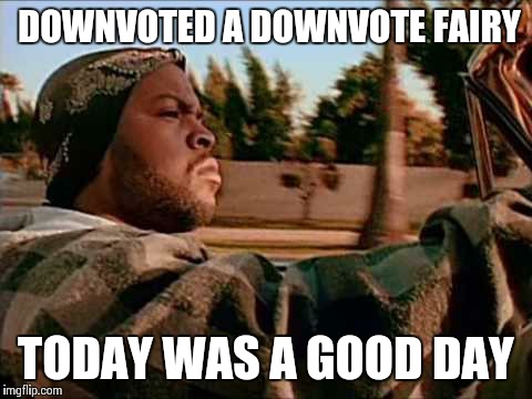 ice cube | DOWNVOTED A DOWNVOTE FAIRY TODAY WAS A GOOD DAY | image tagged in ice cube | made w/ Imgflip meme maker