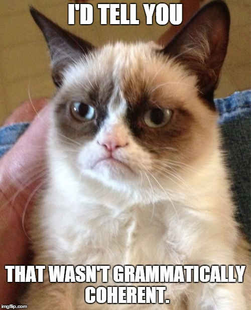 Grumpy Cat Meme | I'D TELL YOU THAT WASN'T GRAMMATICALLY COHERENT. | image tagged in memes,grumpy cat | made w/ Imgflip meme maker