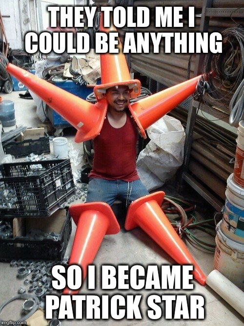 How to be a Starfish. | THEY TOLD ME I COULD BE ANYTHING SO I BECAME PATRICK STAR | image tagged in patrick star,spongebob | made w/ Imgflip meme maker